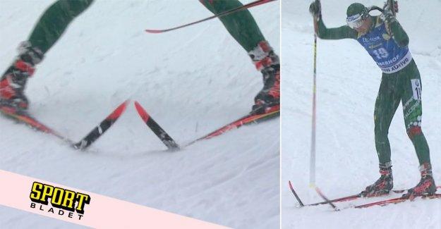 He breaks both skis: As darkness