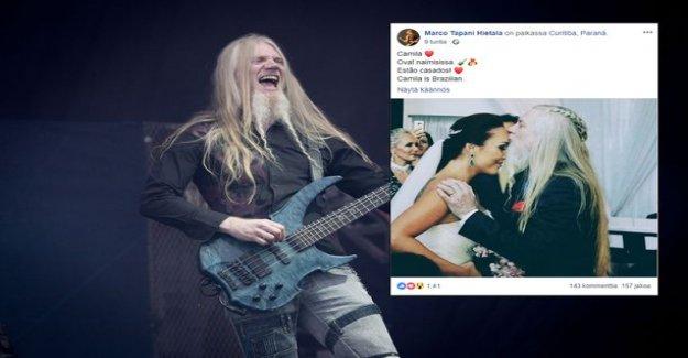 Nightwish-star Marco Hietala married a brazilian girl friend - this bride and groom looked