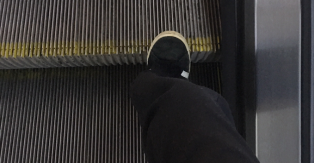 At the age of 15 jute in Copenhagen: Had seen escalators before, but ....