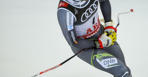 Jansrud took to the taped hand right after the finish