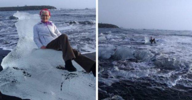 Grandma poses for photo on iceberg, but turn on drift