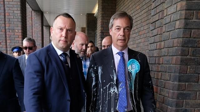 Nigel Farage gets a milk shake