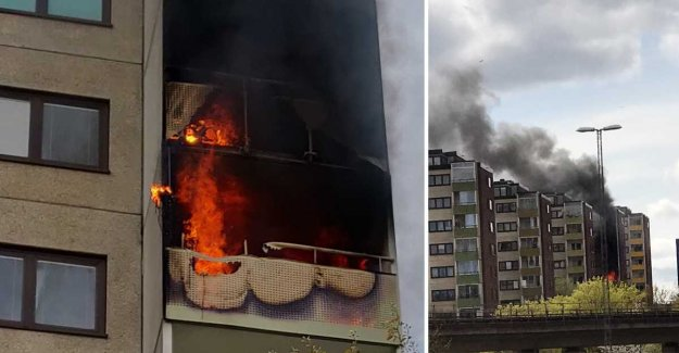 Two to hospital after fire in high-rise buildings