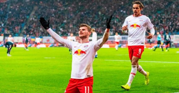 4:1 against Mainz, Germany : Leipzig's Timo Werner is celebrating the next double pack
