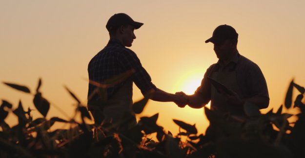 Vegan and farmer hand in hand