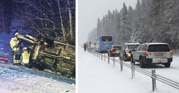 Warn for slippery road conditions, several accidents in the west of Sweden
