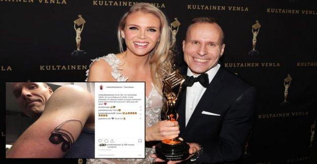 Loiri impersonator tattoo their logo Venla-award-winning presenter arm Yle live on tv- this is what it looks like