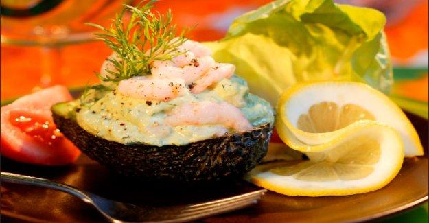Stuffed avocado with shrimp and mayonnaise
