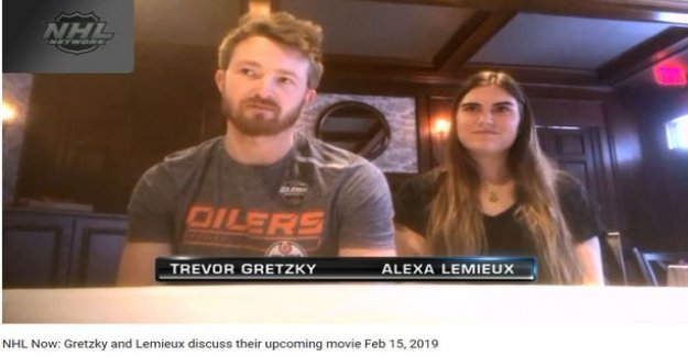 Do you notice the resemblance? Wayne gretzky's son and Mario Lemieuxn daughter play in the same movie