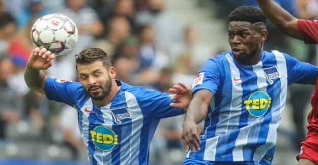 Hertha BSC in the Bundesliga-season 2018/2019 : Torunarigha and Plattenhardt from falling against Bayern