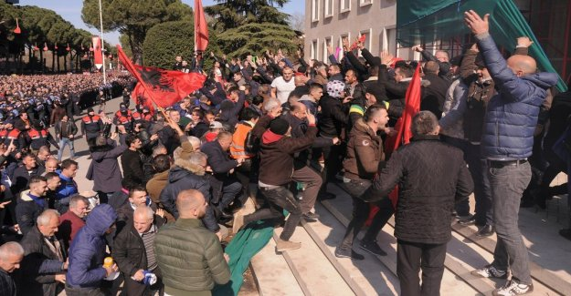 Violent outside of Albania's parliament