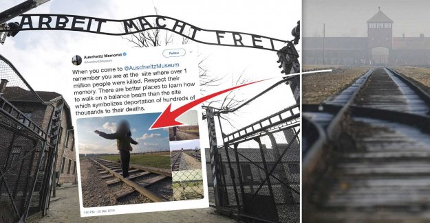 Auschwitzbesökare takes insensitive pictures employees angry
