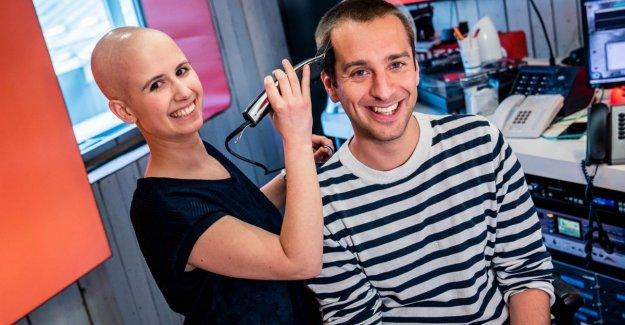 It has happened: borstkankerpatiënte She shaves Sam De Bruyn a broske