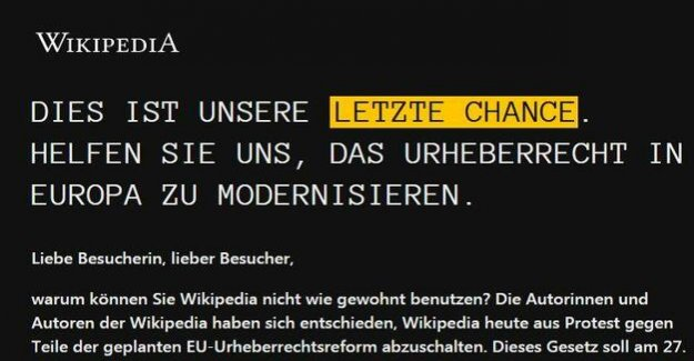 Protest against Upload-Filter : German-language Wikipedia is for a day offline