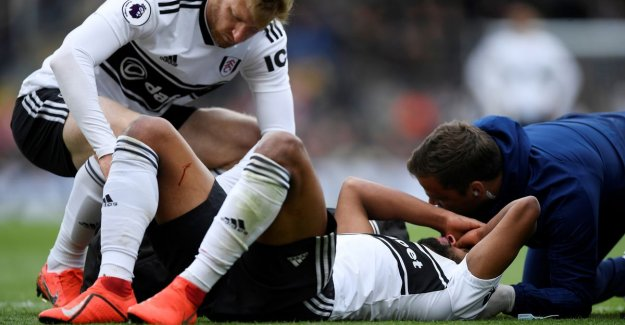 Denis Odoi with a brace around his neck, removed after a nasty collision with Fulham-team mate: He is now okay