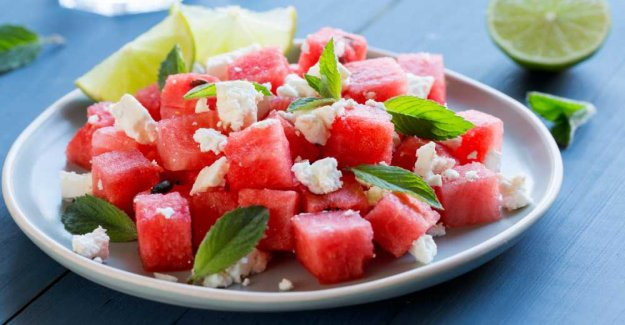 Melon salad with mint and feta