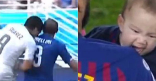 Not from the postman: son Luis Suárez mimics during titelfeest Barcelona abominable incident of papa flawlessly after