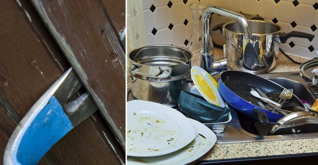Broke into – patted the dog and washing the dishes