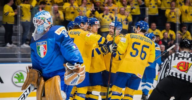 Målkalas when the Tre Kronor took the first victory in the world CUP