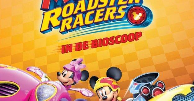 Mickey Mouse racing through the cinema