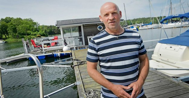 The firefighter has been fishing on the raft for children with disabilities