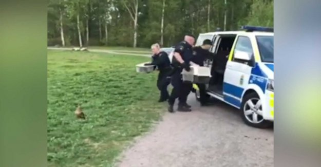 This pulls the police out to save the andfamiljen