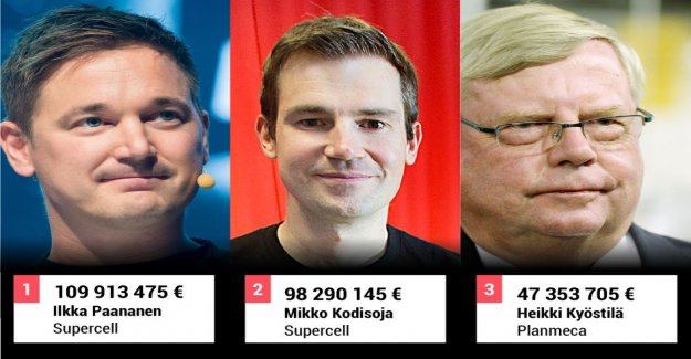 Look at the high earners list – supercell's Ilkka Paananen was the last year the most ever earned for a Finnish