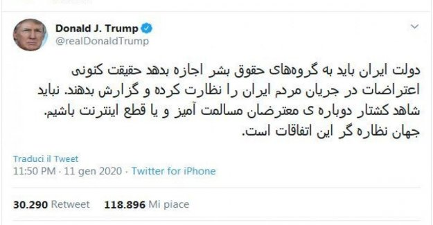 Usa, the tweet Trump in farsi for the iranian students: Inspired by your courage.