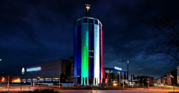 Maserati, the Tower of Modena with the Italian flag, hymn to Italy