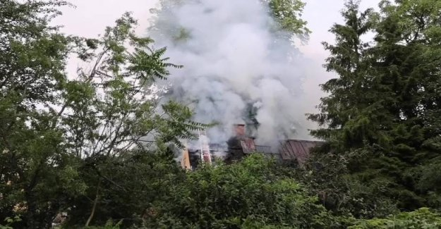 Fire in the old school after the lightning strike