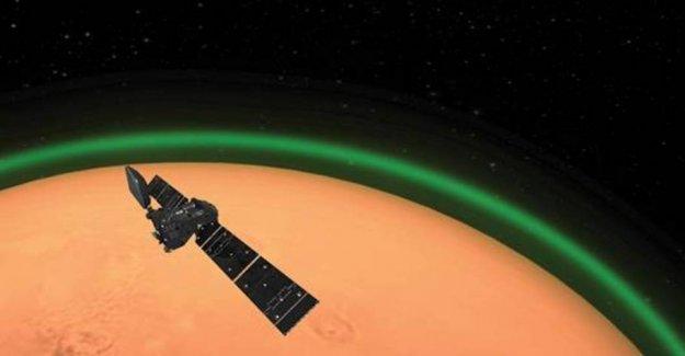 Mars is enveloped in a green glow