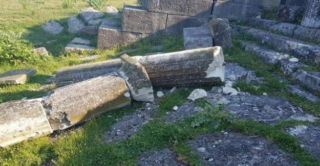 The remnants of the ancient Apollonia of Illyria vandalized in Albania