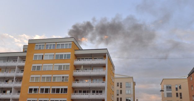 A fire is raging in an apartment complex in Norrköping, sweden