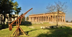 Paestum, there is a theme playground archaeological temples