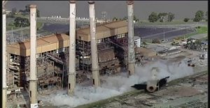 Big demolition: Eight chimneys toppled on the strip