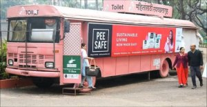 India, the old bus become a toilet for women